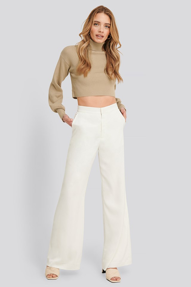 Rosie Flowy Satin Pants White