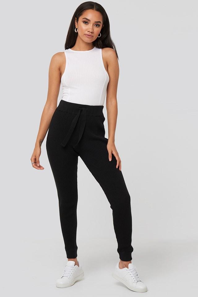 Ty Rib Knitted Pants Black